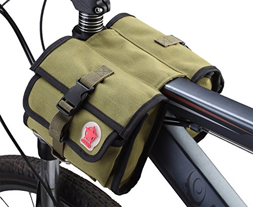 Layopo Roswheel Double Side Bicycle Cycling Bike Frame Mini Pannier Bag Rack Top Tube Saddle Bag,Army Green With Layopo'S Carabiner front-501415