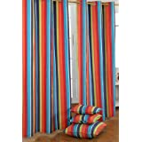 100% Cotton Multi Stripes Ready Made Eyelet Curtain Pair
