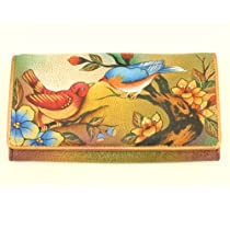 Anuschka Hand Painted Genuine Leather Accordion Flap Wallet (Two For Joy)