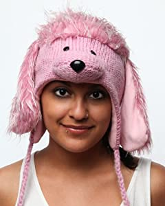 DeLux Pink Poodle Wool Pilot Hat with Ear Flaps