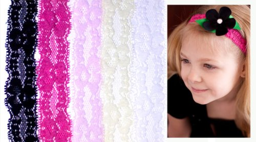 5 pack lace headbands for baby, toddler & girl in pink, white, cream, black & hot pink