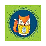 Chumbak Circle Fox Green Print Wall Art