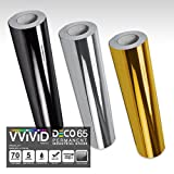 VViViD Chrome 3-Color Gloss DECO65 Permanent Adhesive Craft Vinyl 1ft x 5ft Roll Bundle for Cricut, Silhouette & Cameo