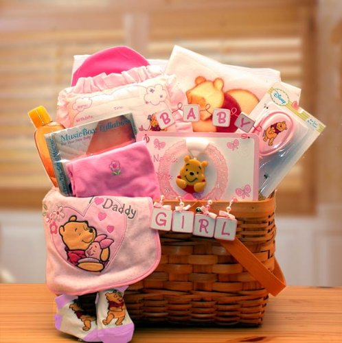 Winnie The Pooh Pink New Baby Basket