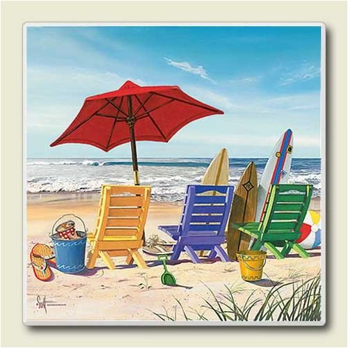 AbsorbaStone Coaster set~ Beach Keen ~4 Tile Drink Coasters ~ code-272