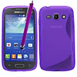 Samrick S Wave Hydro Gel Protective Case, Screen Protector, Microfiber Cloth, Purple High Capacitive Stylus Pen for Samsung Galaxy Ace 3 S7270/S7272 Dual-Sim/S7275 LTE 4G - Purple