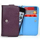 HTC Freestyle Smartphone Wristlet [Leopard Print and Deep Plum - Electric Blue ] Universal Fit & NextDia Cable Strap