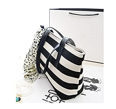 Women Fashion Stripe Handbag Tote Shoulder Bag (Black&White)