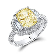 buy Canary Yellow Cushion Cut Cubic Zirconia Sterling Silver Engagement Ring