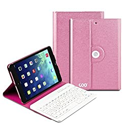 COO iPad Mini 1 2 3 Keyboard Case with Removable Bluetooth Keyboard and 360 Degree Rotation Multi-angel Stand(Rose Red)