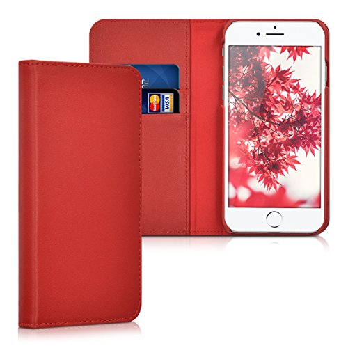 kalibri-Leder-Hlle-James-fr-Apple-iPhone-7-Echtleder-Schutzhlle-Wallet-Case-Style-mit-Karten-Fchern-in-Rot
