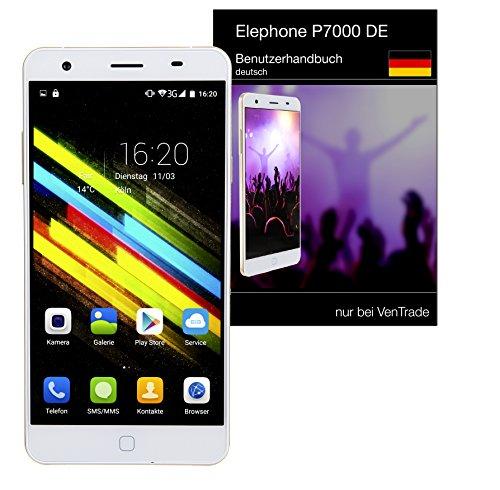 Elephone P7000 - DE, weiß, inkl. deutscher Anleitung, Versand und Service, 14cm (5,5 Zoll) Display, Dual Sim, 13 MP Kamera, Full HD, 8 Kern CPU und 16 Kern Grafikchip, Android 5.0