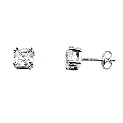 18k white gold claw earrings 5mm. zirconia [AA5315]