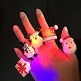 BUDI 25-Pcs Christmas Light Up Toys LED Finger Lights Rings Party Favors Lights for Kids and Adults Assorted Styles (25-Piece)