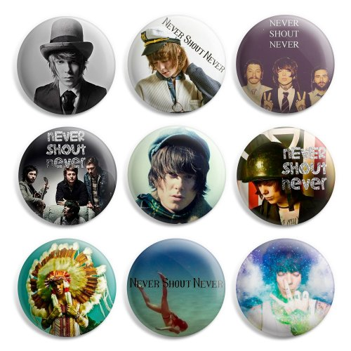 never-shout-never-pinback-buttons-pin-badges-1-inch-25mm-pack-of-9