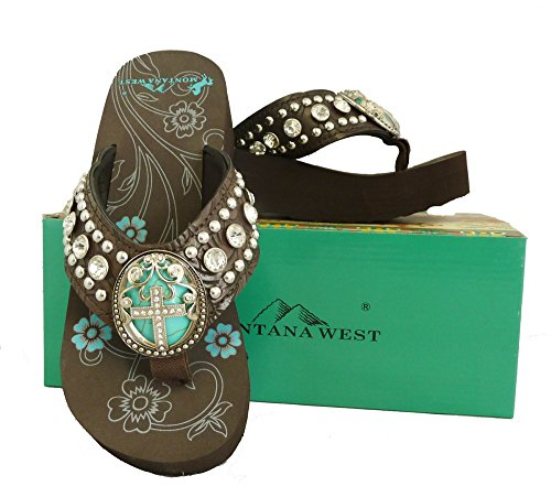 montana-west-ladies-flip-flops-turquoise-stone-pewter-cross-concho-coffee-8-m-us