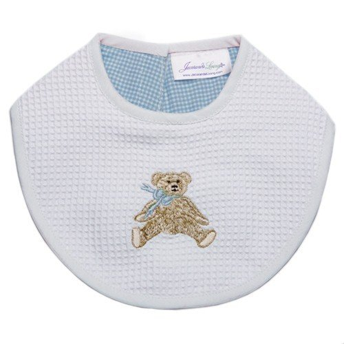 Jacaranda Living Baby Bib, Blue Bow Teddy