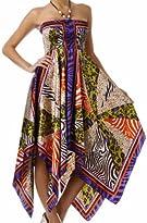 Animal Print Pinwheel Satin Feel Beaded Halter Smocked Bodice Handkerchief Hem Dress