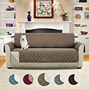 H.VERSAILTEX Pet Friendly Reversible Plush Faux Suede Furniture Protector for Dogs Cats, Features Protect from Pets, Spills, Wear and Tear (Sofa: Taupe/Beige)-75 X 110