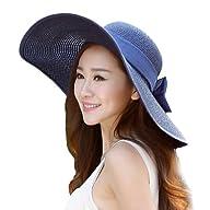 LOCOMO Women Plain Color Strap Bow Ribbon Wide Brim Floppy Straw Hat FFH150DBLU