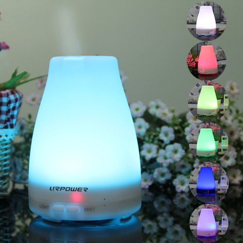Big Save! Essential Oil Diffuser,URPOWER® Aromatherapy Essential Oil Diffuser Portable Ultrasonic Aroma Humidifier with 7 Color Changing LED Lamps, Mist Mode Adjustment and Waterless Auto Shut-off Function – Perfect for Home Yoga Office Spa Bedroom Baby Room