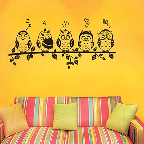 Decals Design 'Funny Owls Emoticons' Wall Sticker (PVC Vinyl, 70 cm x 50 cm, Black)