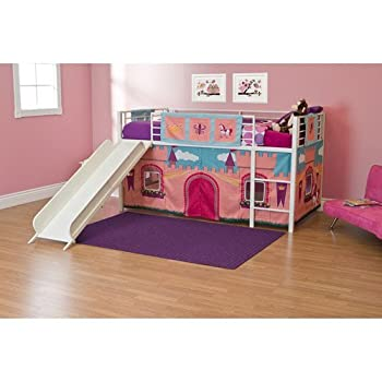 Girls Princess Castle Loft Bed with Slide Bunk Bed Twin Size White