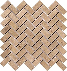herringbone 1x2 tumble noce noche travertine for kitchen
