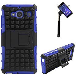 DMG Dual Hybrid Hard Grip Rugged Kickstand Armor Case for Xiaomi Redmi 2 (Blue) + Selfie Stick Monopod with Aux (No Battery Needed)