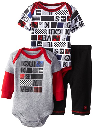 Quiksilver Babys Newborn Printed Short Twofer Gray Long Sleeve Bodysuit And Pant, Multi, 0-3 Months