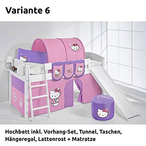 Hochbett Spielbett IDA Hello Kitty Lila, mit Rutsche und Vorhang, weiß, Variante 6 online bestellen