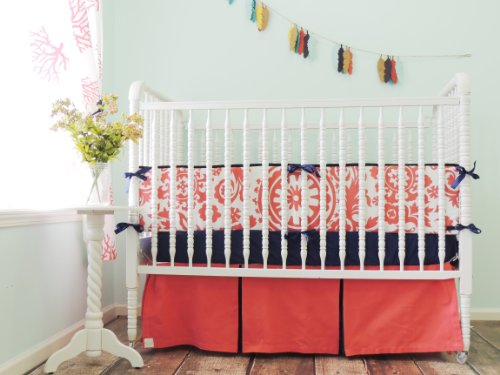 Tushies and Tantrums Boutique Crib Set, Coral and Navy Blue Suzani