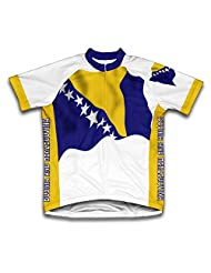 Boznia And Herzegovina Flag Short Sleeve Cycling Jersey for Women