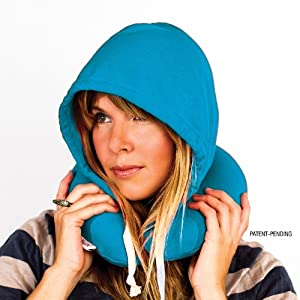 HoodiePillow® Brand (Inflatable) Travel Hoodie Pillow - Blue