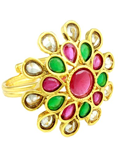 Finger Ring with Round Shaped Ruby Stone surrounded by pear ruby, emerald & clear stones (transperant)
