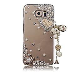 Samsung Galaxy Note 5 Case, Sense-TE Luxurious Crystal 3D Handmade Sparkle Glitter Diamond Rhinestone Ultra-Thin Clear Cover with Retro Bowknot Anti Dust Plug - Heart Pendant Flowers