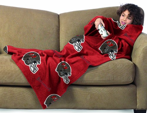 NFL Tampa Bay Buccaneers Youth Size Comfy Throw Blanket with Sleeves