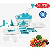 Slings 14 Pcs Manual Food Processor - Chopper, Blender, Atta Maker, Dough Kneader - Sky Blue