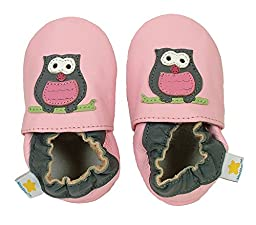 Ministar Girls Baby Infant Toddler Prewalker Leather Soft Sole Crib Shoes - Pink/Gray Owl - Large 12-18 mo.