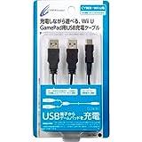 CYBER ・ ダブルUSB充電ケーブル (Wii U GamePad用) ブラック