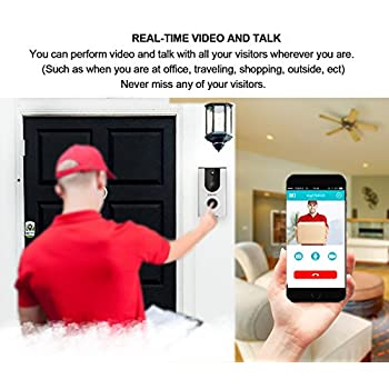 ERAY WiFi Wireless Enabled Video Doorbell Smart Home Security Camera IP65 Waterproof, iOS & Android APP, IR Night Vision, Cloud Storage, Built-in 8G TF Card, Support Tamper Alarm (Video Doorbell)