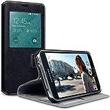 Samsung Galaxy S5 Hülle, Terrapin Leder Tasche Case Hülle im Bookstyle mit S-View Standfunktion Kartenfächer für Samsung Galaxy S5 S-View Schwarz