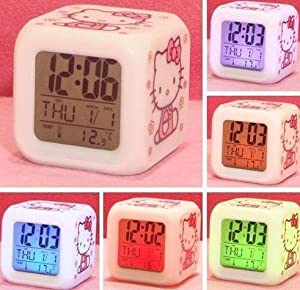 Hello Kitty Alarm Clock w/ Soothing Glow LED Lights And Thermometer