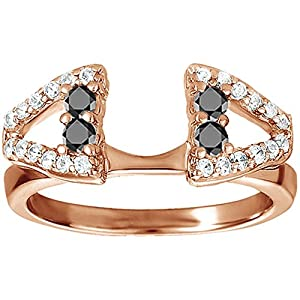 0.44 CT Black And White Diamonds (G-H,I2-I3) Open Classic Style Ring Wrap in Rose Gold Plated Sterling Silver