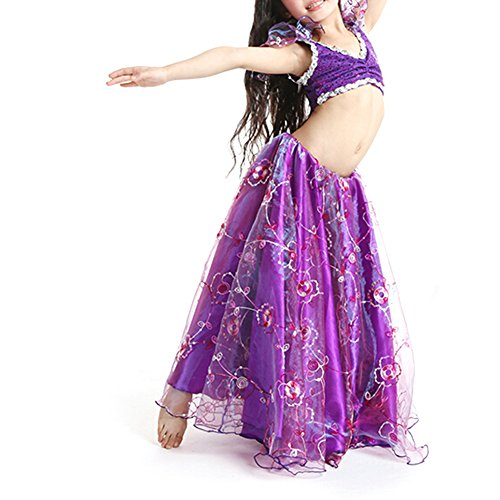 BellyLady Kid Tribal Belly Dance Costume, Tribal Top And Embroidered Skirt Set PURPLE-L