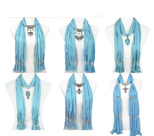 6 Styles/lot,blue Colors Jewelry Scarf Fashion Pendant Scarf ,10-18 Days Delivery From China By Usps