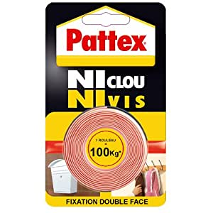 "Pattex Adhésifs Fixation ""Ni clou ni vis"" 100 kg 19 mm x 1.5 m"