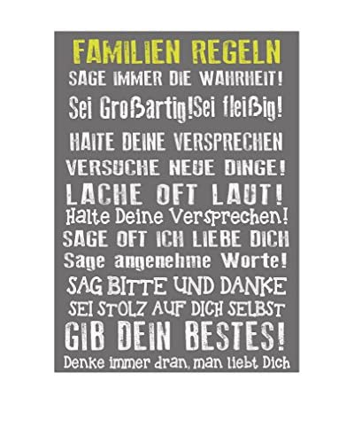 Really Nice Things Panel Decorativo Family Rules Gris