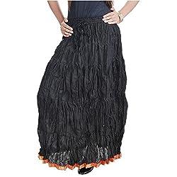 SHREEMANGALAMMART Rajasthani Beautiful Fashionable n Ethnic Black Cotton Long Skirt(Black)(SMSKT524)