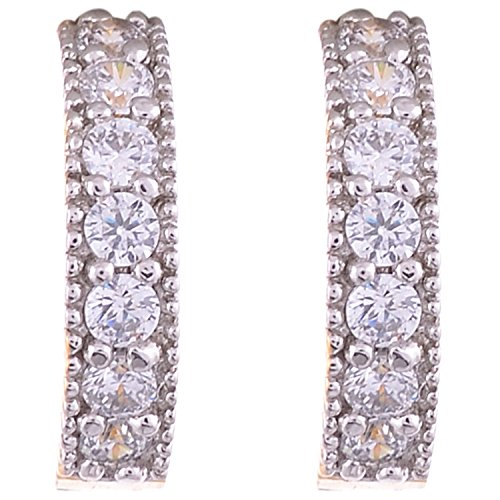 Aditri Aditri White Colour American Diamond Hoop Fashion Earrings For Women (Multicolor)